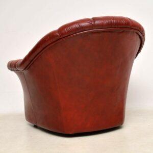1970's Vintage Leather Sofa & Armchair