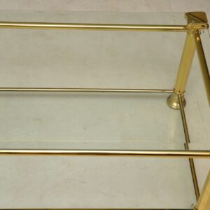 1970's Vintage French Brass & Glass Coffee Table