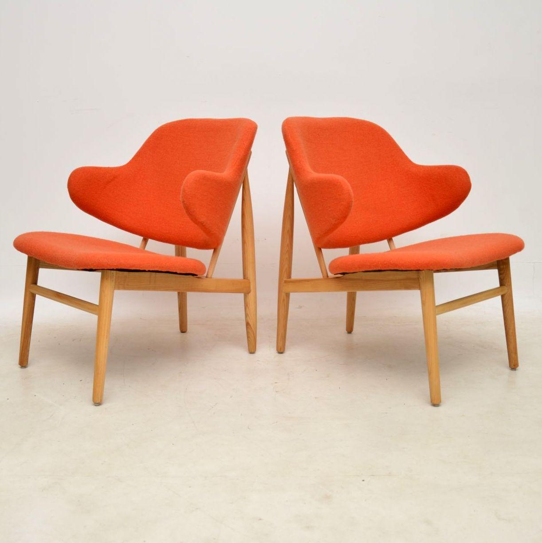 pair of danish vintage ib kofod larsen shell chairs
