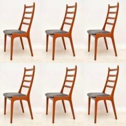 1960's Set of 6 Danish Teak Dining Chairs by Kai Kristiansen
