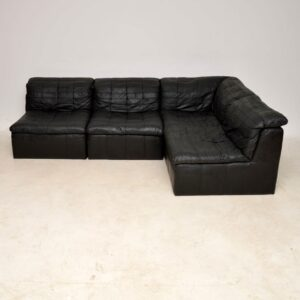 1960's Danish Vintage Leather Modular Corner Sofa