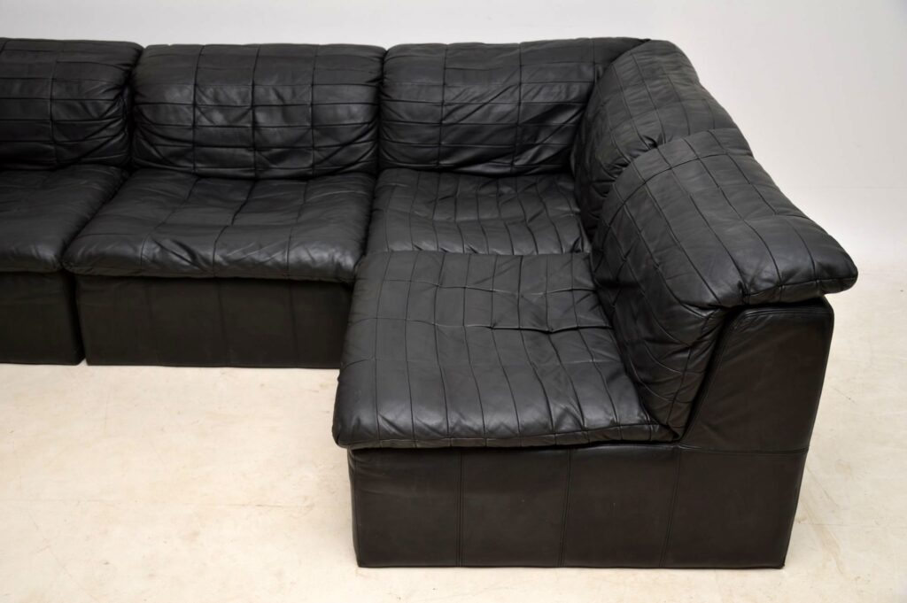 danish vintage leather corner sofa