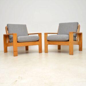 pair of vintage retro armchairs asko scandinavian danish