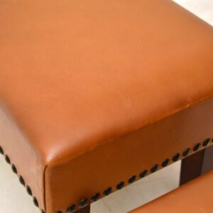 Pair of Vintage Leather & Mahogany Foot Stools