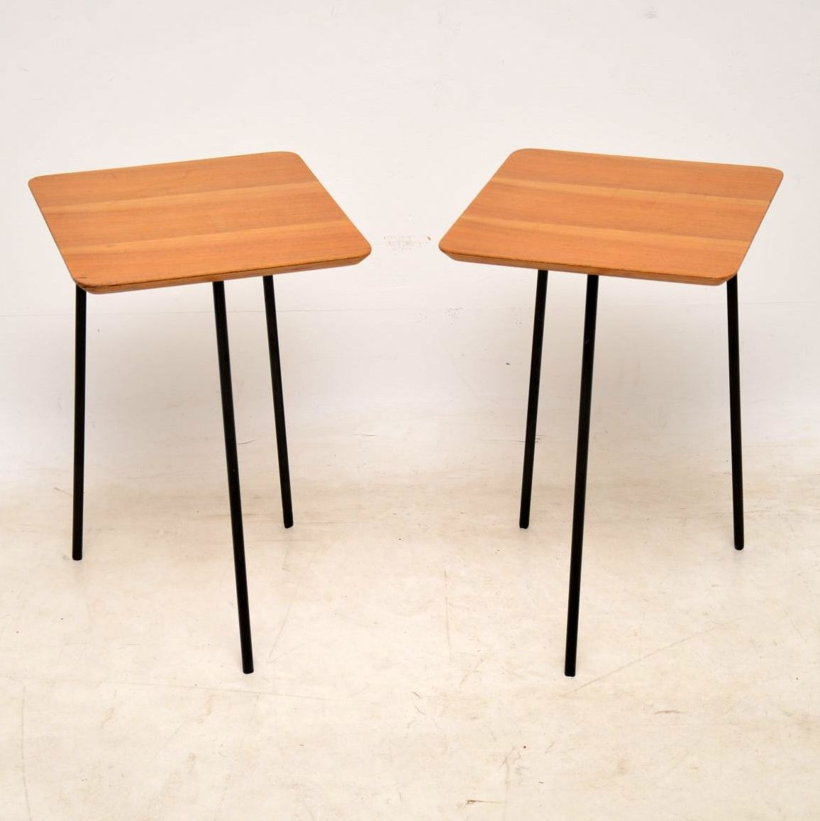 pair of vintage walnut side tables