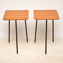 1950's Pair of Walnut & Steel Tripod Side Tables