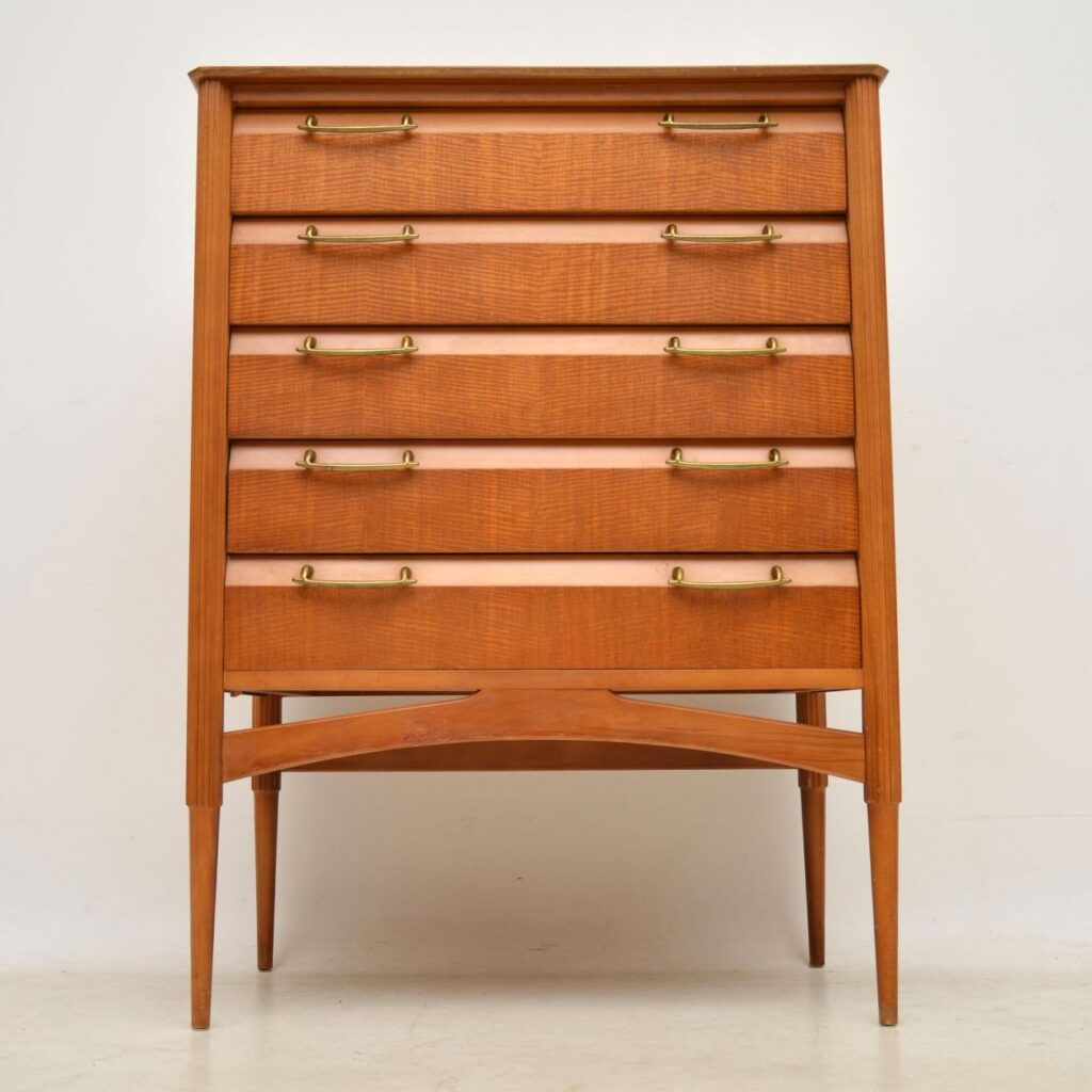 vintage retro satinwood chest of drawers