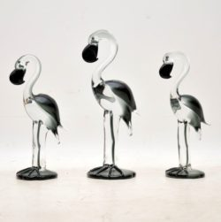 1960's Vintage Trio of Ornamental Glass Flamingos