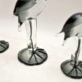 1960's Vintage Trio of Ornamental Glass Flamingos