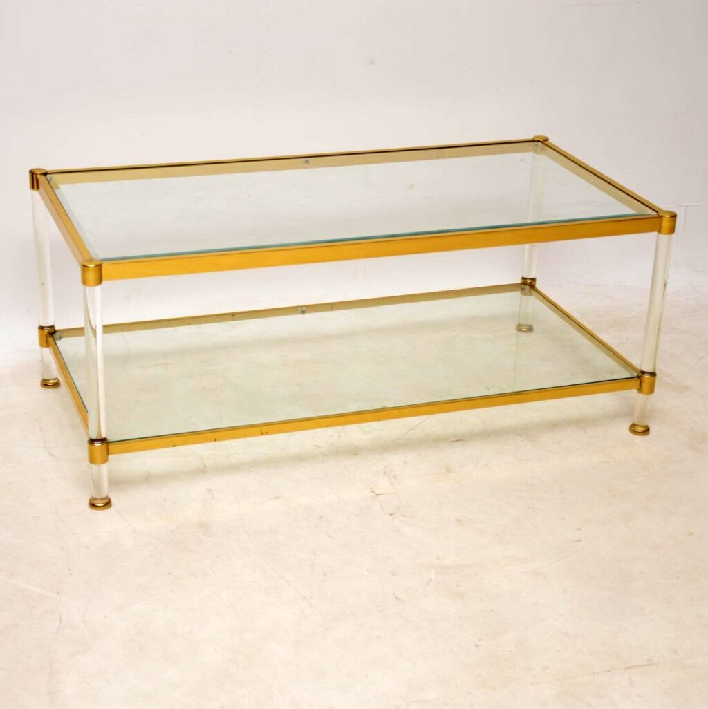 vintage retro brass glass perspex coffee table