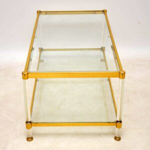 1970's Vintage Glass & Brass Coffee Table