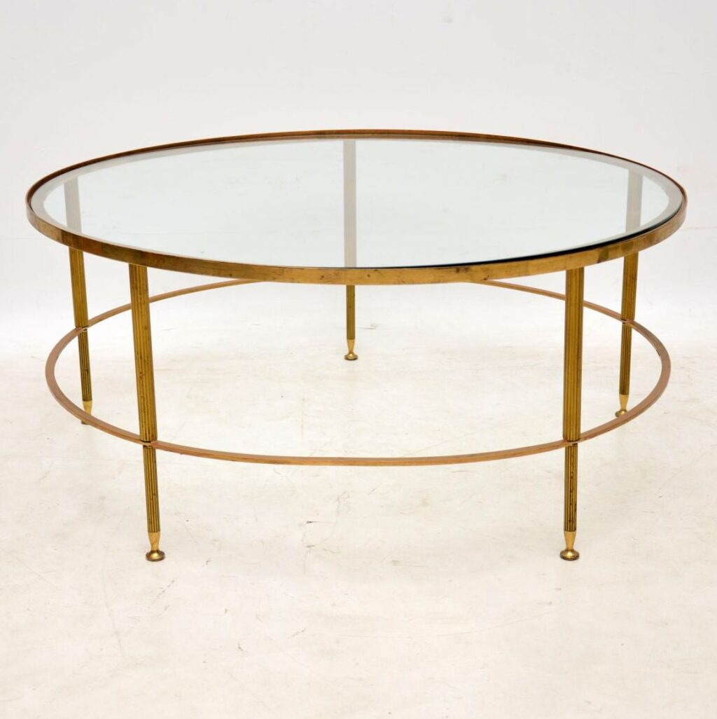 vintage retro french brass glass coffee table