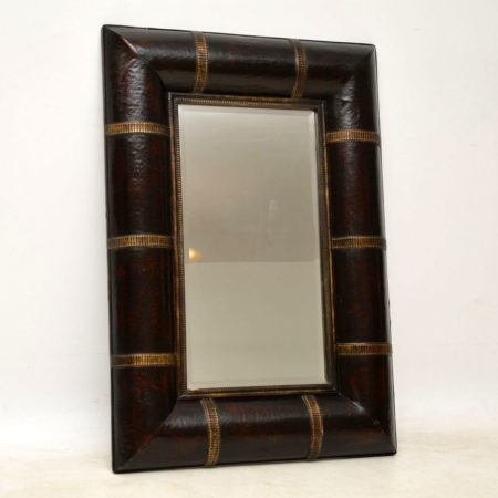 Vintage Leather & Gilt Wood Mirror