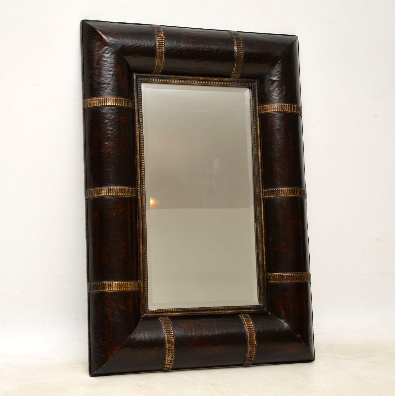 vintage retro antique leather mirror