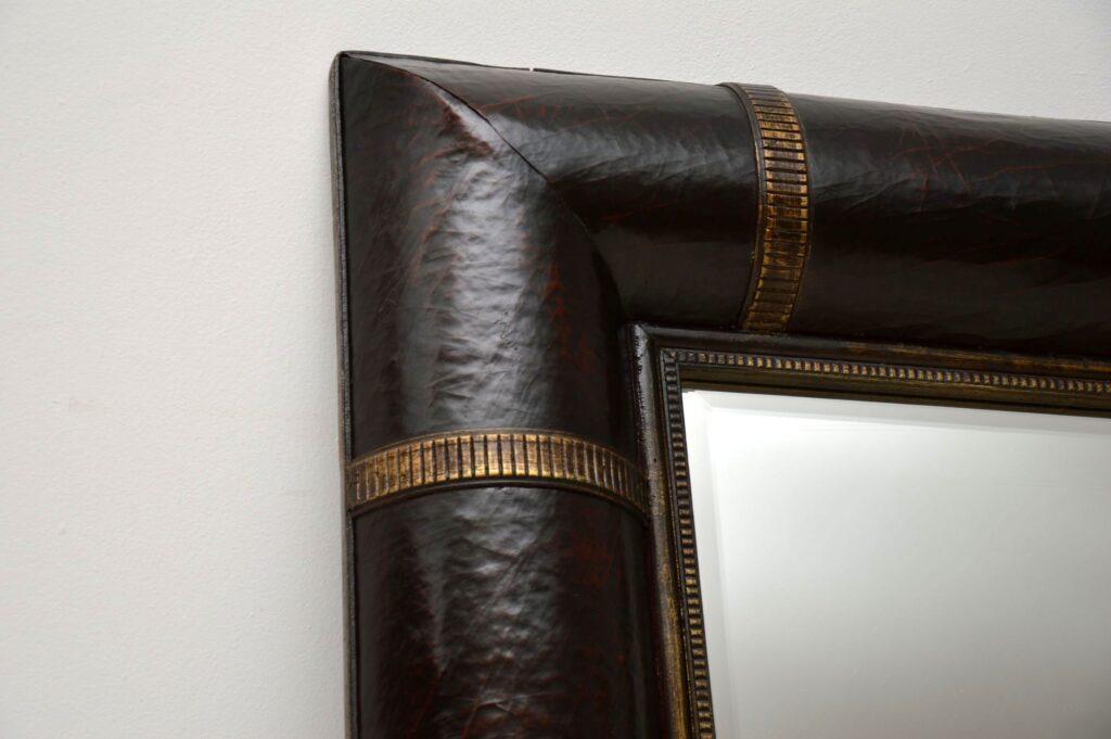 vintage retro antique leather mirror