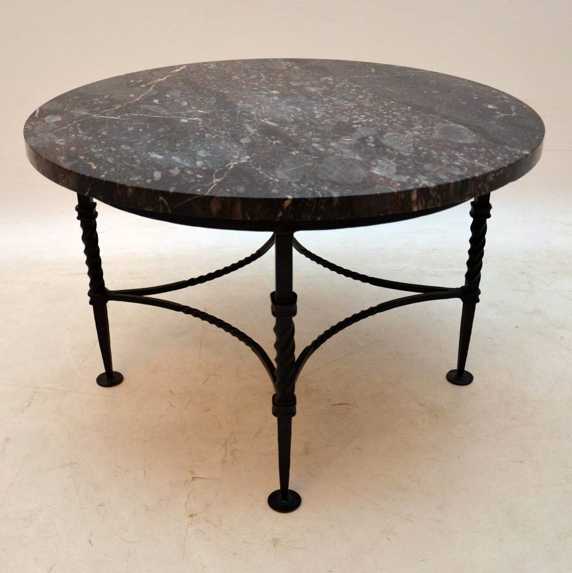Wrought Iron Coffee Table With Drawers: 1950's Vintage Marble & Wrought Iron Coffee Table