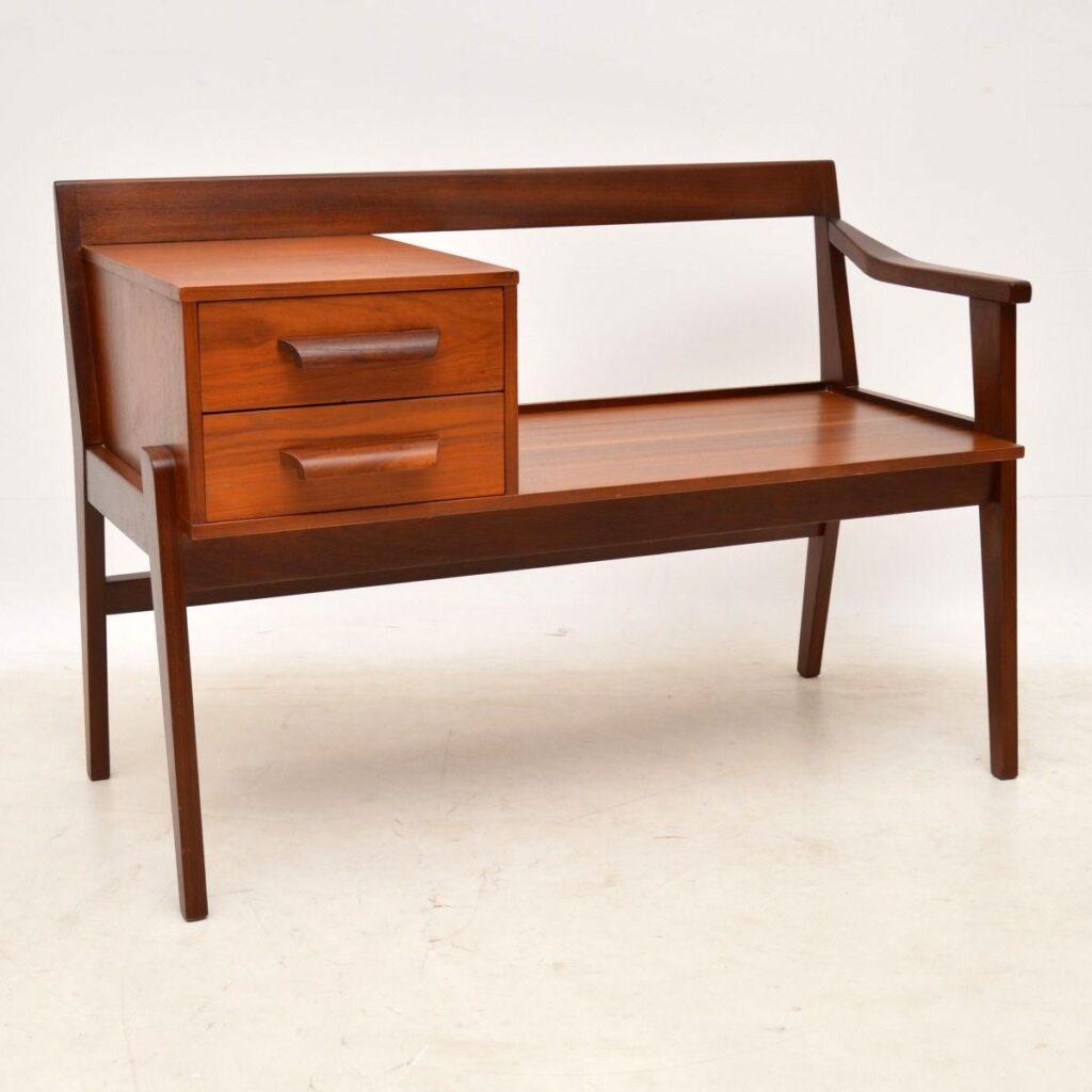 teak retro vintage hall table entry bench