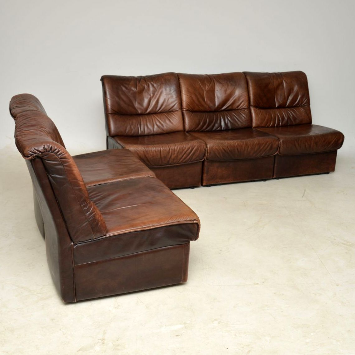 1960 S Danish Vintage Leather Modular Sofa Retrospective