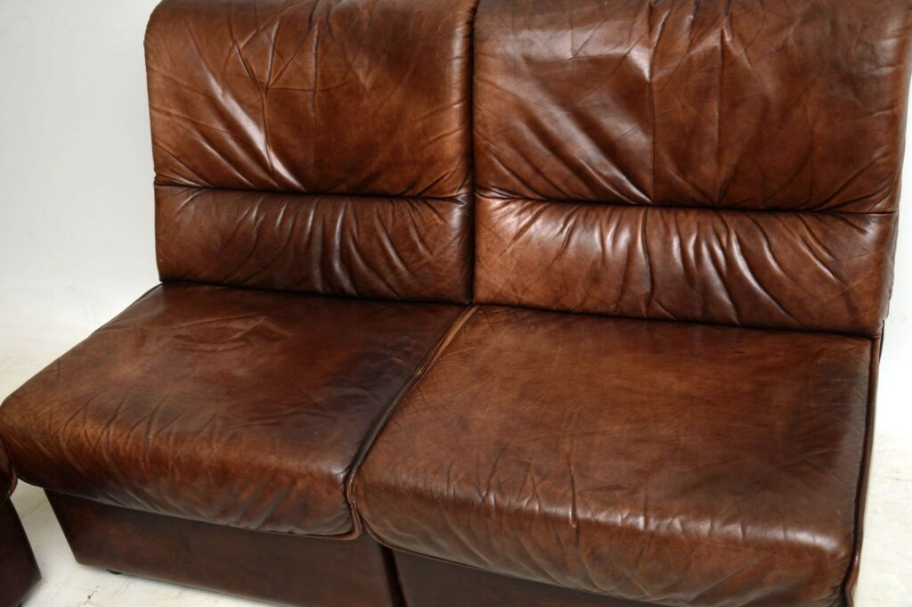 danish vintage leather modular corner sofa