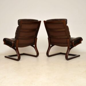 1960's Pair of Danish Vintage Leather Armchairs by Thams