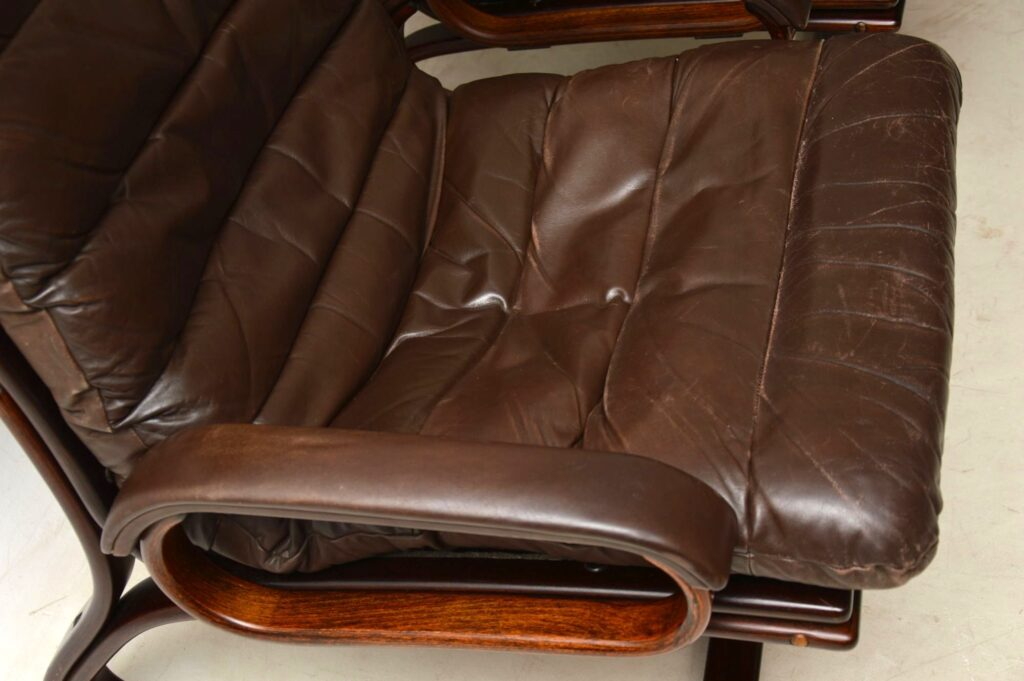 pair of vintage danish leather armchairs by thams