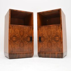 art deco burr walnut pair of bedside cabinets