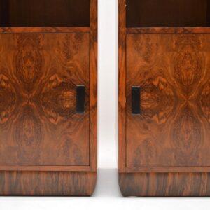 art deco burr walnut pair of bedside cabinets