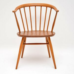 pair of vintage ercol cowhorn chairs
