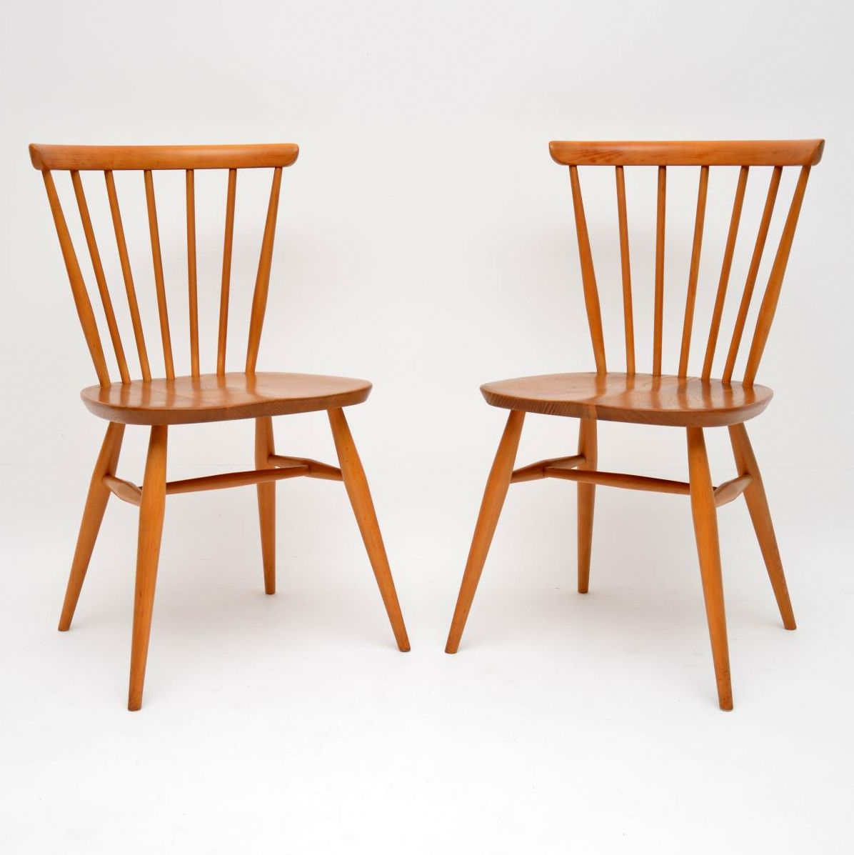 pair of vintage retro ercol dining side chairs