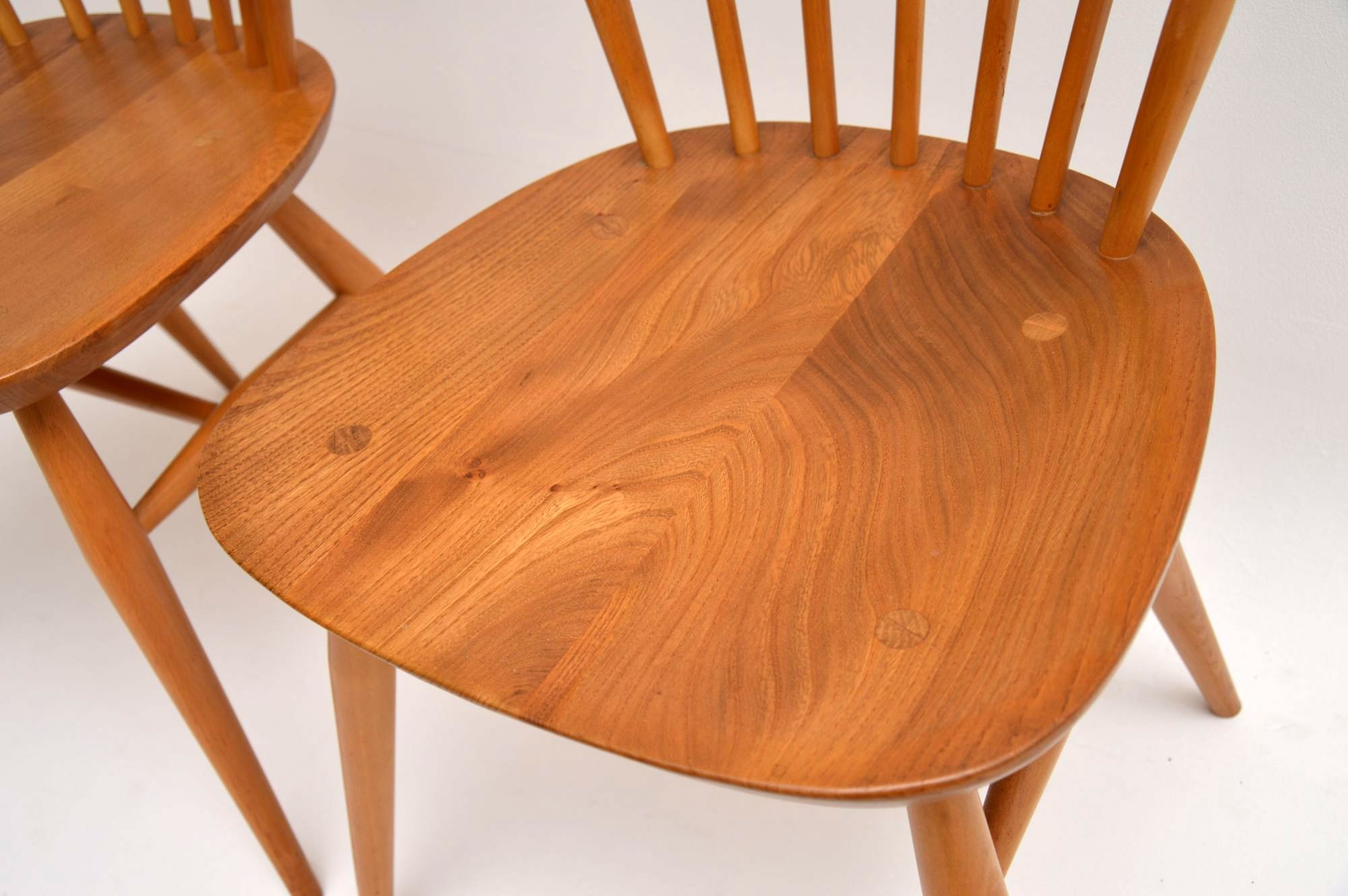 1960 S Pair Of Solid Elm Vintage Ercol Dining Side