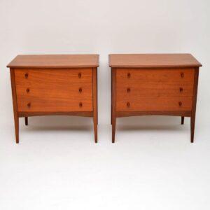pair of vintage teak chest of drawers