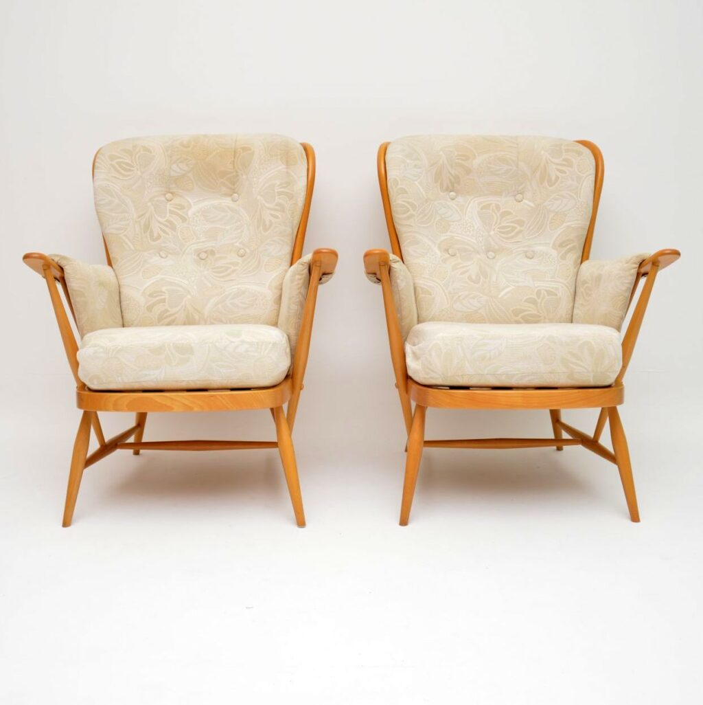 pair of vintage ercol armchairs