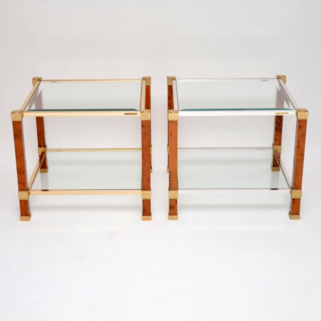 pair of vintage walnut glass french side tables