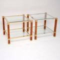1970's Pair of Vintage French Walnut & Glass Side Tables