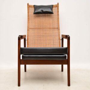 pair of vintage danish dutch rattan armchairs