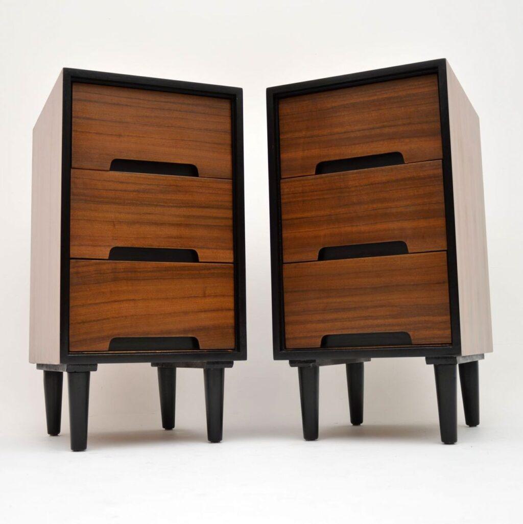 pair of vintage walnut bedside chests