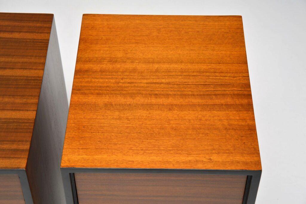 pair of vintage walnut bedside chests stag c range