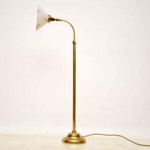 1960's Vintage Brass & Glass Adjustable Lamp