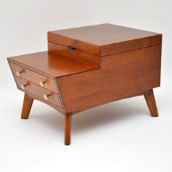 1960's Vintage Mahogany Sewing Box / Side Table