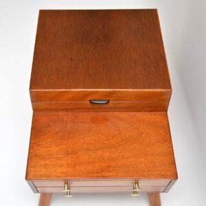 1960's Vintage Mahogany Sewing Box / Side Table