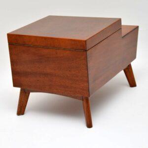 retro mahogany sewing box side table