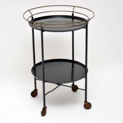 1950's Ebonised Metal Vintage Drinks Trolley