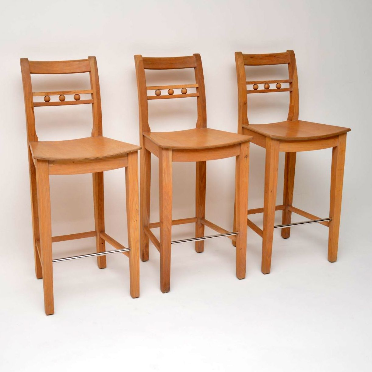 Set Of Three Quaker Style Solid Oak Bar Stools By Neptune