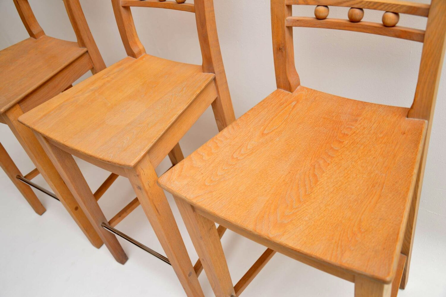set of three solid oak bar stools by neptune