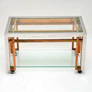 1970's Vintage Chrome & Brass Coffee Table
