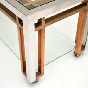 vintage chrome brass romeo rega coffee table