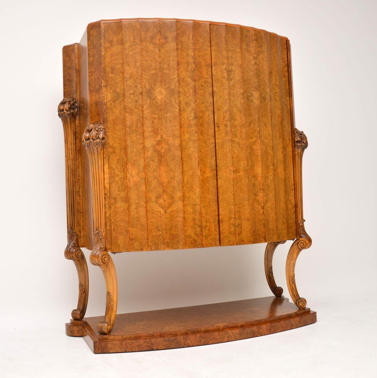 art deco burr walnut epstein cocktail cabinet