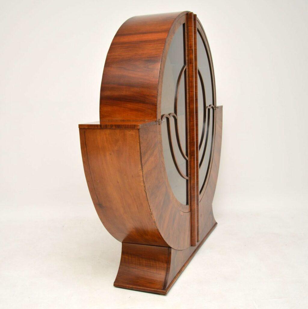art deco walnut bookcase cabinet