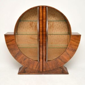 art deco walnut bookcase cabinet