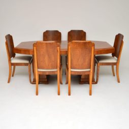 art deco walnut dining table and chairs